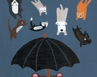 Raining cats and dogs - Greeting card