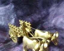Double Bull Cart Brass Ornament. Indian brass sculpture. Decorative statue. Ethnic brass art. Decor idea. Brass mantle piece. By Artikrti.
