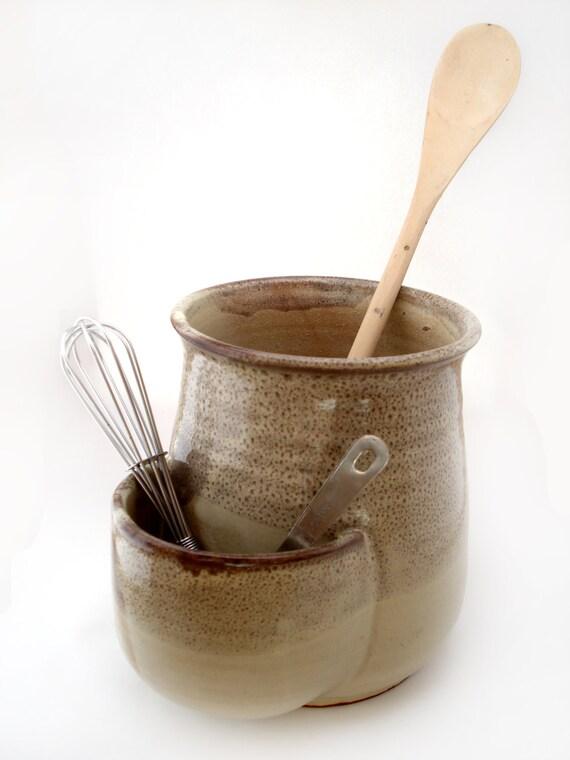 Utensil Holder With Pocket Tan Utensil Crock Pottery Spatula