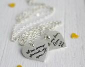 Two Heart Handwritten Memorial Necklace