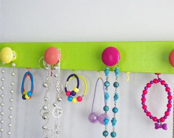 Neon Green Jewelry Hanger Organizer Necklace Board Teen Girls Closet Storage Organization Dorm Organizer Gift Idea Teens