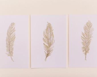Set of 3 Gold Feather Prints, Portrait Style