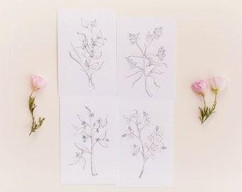 Botanical Print Set, Set of 4 Floral Prints