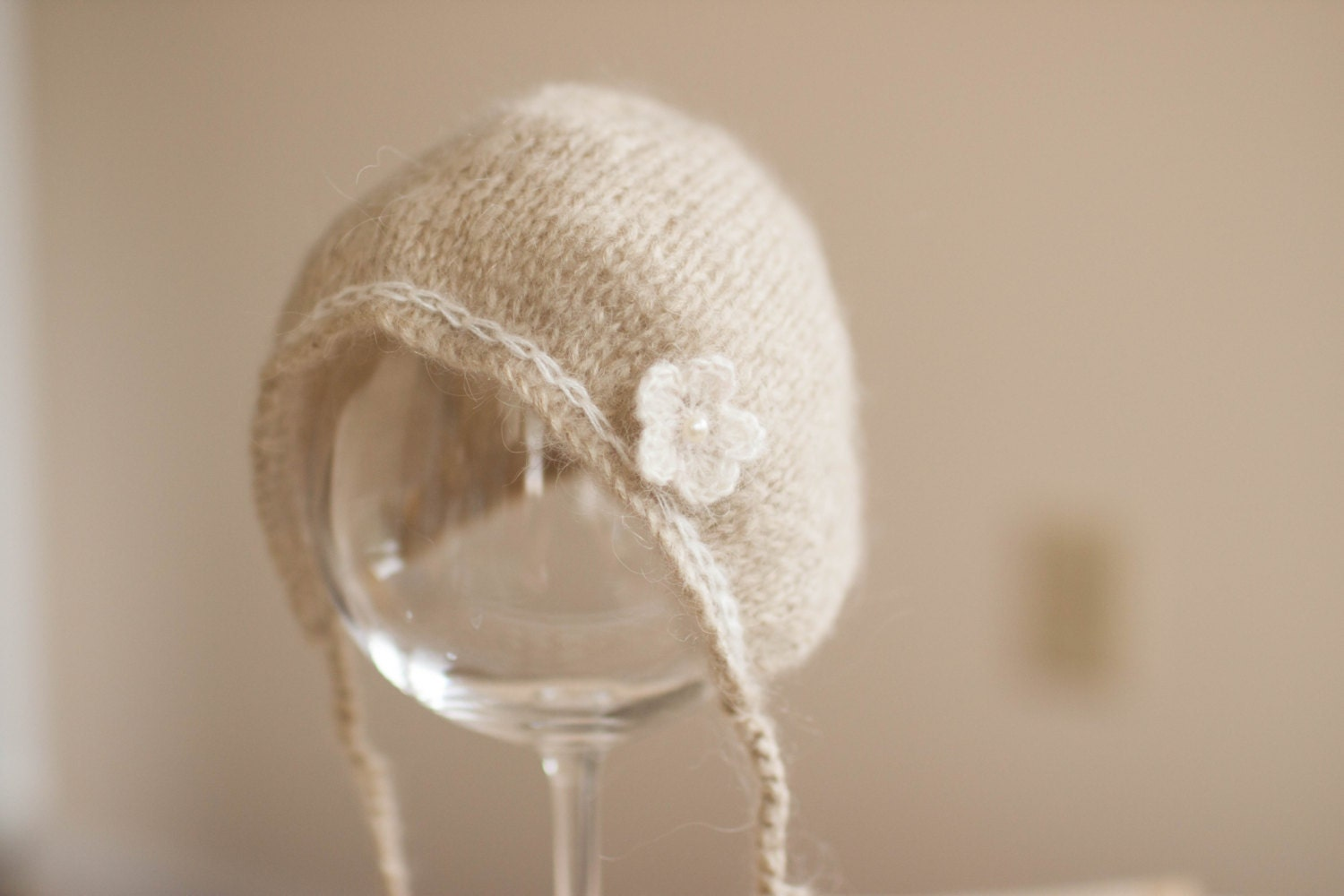 Knitting Pattern For Mohair Hat : Newborn Hat Mohair Bonnet Hat Beige Knit Bonnet by bluestonesky