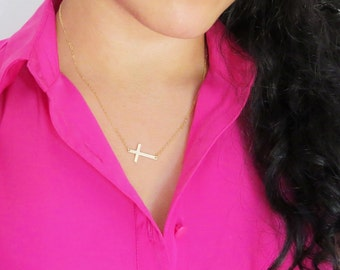 Gold Sideways Cross Necklace, Large Sideways Cross Necklace, Large Silver Side Cross Necklace, Large Rose Gold Side Cross