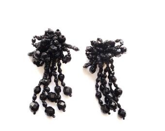 1970s Dangle Earrings Elegant Faceted Jet Beads Clip Ons Elegant Jewelry Beaded Jet