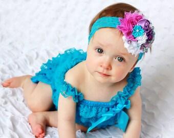 precious turquosie lace romper and headband SET,petti romper,baby headband, girls first birthday outfit, vintage headband, lace petti romper