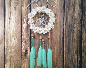 "3"" Floral Mint and Cream Glitter Dream Catcher"