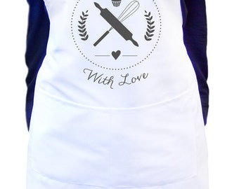 Baked with love women's white baking kitchen apron, Ladies white apron, Gift idea for baker, Personalized apron for women, Gift for mom