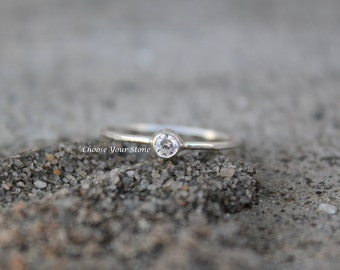 3mm Birthstone Ring in Sterling Silver, Choose Your Color