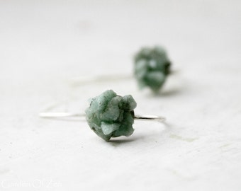Raw Emerald earrings green mint earrings - sterling silver earrings