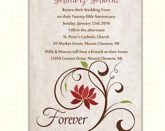 Vow Renewal Invitation, 10th, 20th, 25th, 30th, 50th, anniversary, wedding, milestone, digital, printable, invite V1483