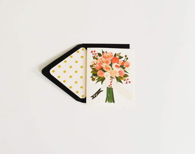 For You Bouquet Floral Greeting Card With Pink & Gold Accents