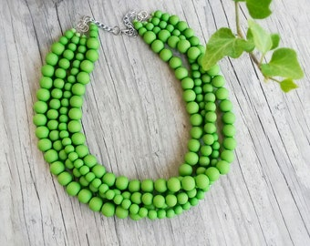 Multistrand green necklace,Bright beaded apple green necklace,Bridesmaid green necklace,Chunky green statement necklace,Green jewelry