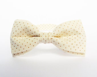 Ivory Bow Tie Gold Dots Bow Tie Dotted Bow Tie for Men Bow Tie for Women Gold Bow Tie Wedding Bow Tie Gift For Men Mens Bow Tie BowTie Men
