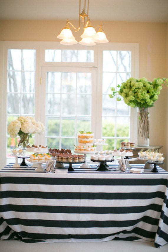 Striped Tablecloth Black And White Table Cloth By
