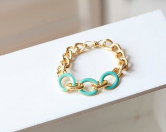 Turquoise and GOLD Textured Chain Bracelet - Chain Link Bracelet - Chain bracelet