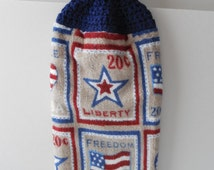 Hanging Crochet Topped Towel - Patriotic Towel - 4th of July Decor - Handmade Crochet - Ready to Ship