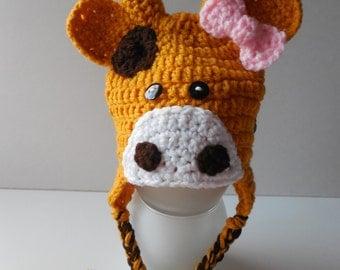 Giraffe Baby Girl Hat - Giraffe Hat with Pink Bow - Earflap Baby Hat - Photo Prop - Handmade Crochet - Made to Order