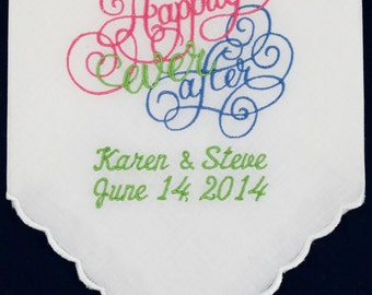 Bridal Handkerchief with Happily Ever After, Bride and Groom's Names and Wedding Date, Free Shipping by Priority Mail