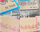 Personal Stationery, Monogrammed Bicycle Cards, Gift for Cyclist, more colors set of 8 ...Bicycle Cards, Bicycle notecards