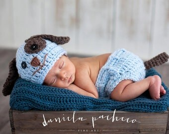 Baby Boy Hat PUPPY LUV Newborn Baby Boy Crochet Doggy Hat / Diaper Cover DOG Hat
