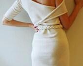 Little White Dress off shoulder unique design merino wool cotton blend (midi) One of a kind