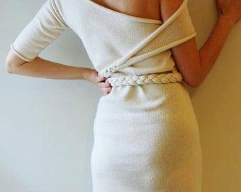 Little White Dress off shoulder unique design (midi) One of a kind