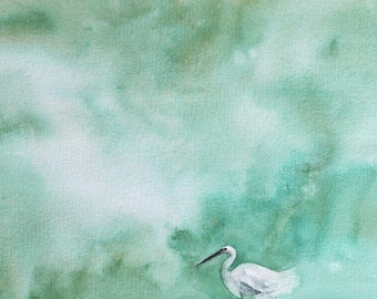 Watercolor painting bird painting art Print Bird art PRINT Bird PRINT bird egret bird Wall art Bird blue abstract painting watercolour 11x14
