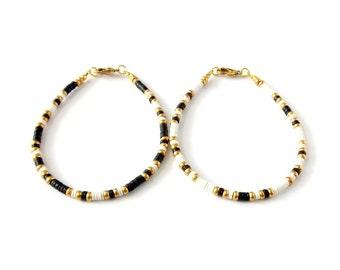 Boho Jewelry Tribal Bracelet African Vinyl Beaded Friendship Bracelet - Black & White - Festival Jewelry Tribal Jewelry Stackable Bracelet