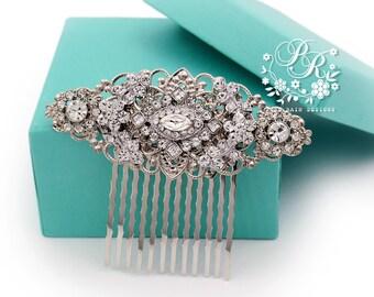 Wedding Hair Comb Swarovski Clear Crystal Rhinestone Hair Comb Bridal Jewelry Hair Accessory Wedding Jewelry Headpiece rhombus