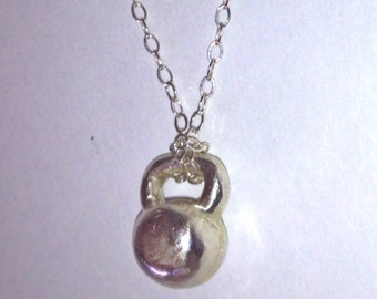 Kettlebell Tiny Charm Necklace in Sterling Silver