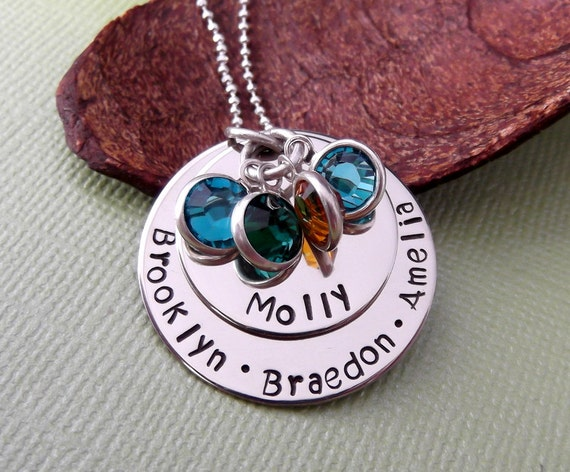 Personalized Grandma Necklace- Hand Stamped Grandma Necklace- Mommy Jewelry- Engraved Grandma Necklace- Mommy Necklace-