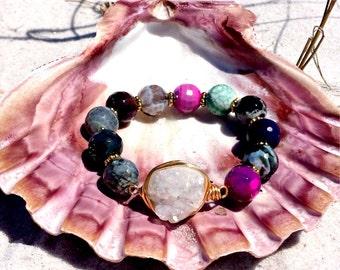 Ariel   wire wrapped white druzy agate  stretchy bracelet