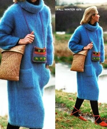 Mohair Dress Knitting Pattern : KNITTING PATTERN Fluffy Mohair Dress Cowl Long Sweater