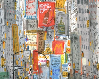 TIMES SQUARE Taxi New York Signed Giclee Print, Watercolor Painting, NYC Taxi Artwork, Manhattan Drawing, Broadway City Art, Clare Caulfield