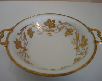 Handpainted Vintage Limoges Bowl - Limoges French Porcelain - Vintage Limoges - Vintage Bowls - Gold Edged Bowl