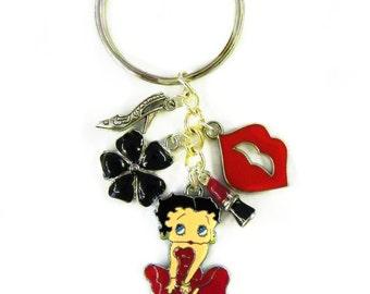 Betty Boop Key Chain Keychain Marilyn Monroe Stance Red Dress Lips Kiss Pinup