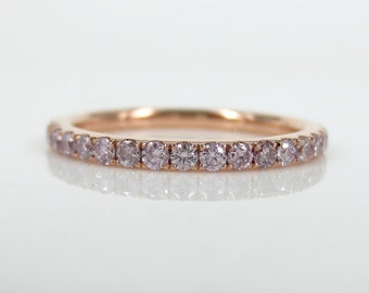 0.71cts Natural Pink Diamond Pave Eternity Band.