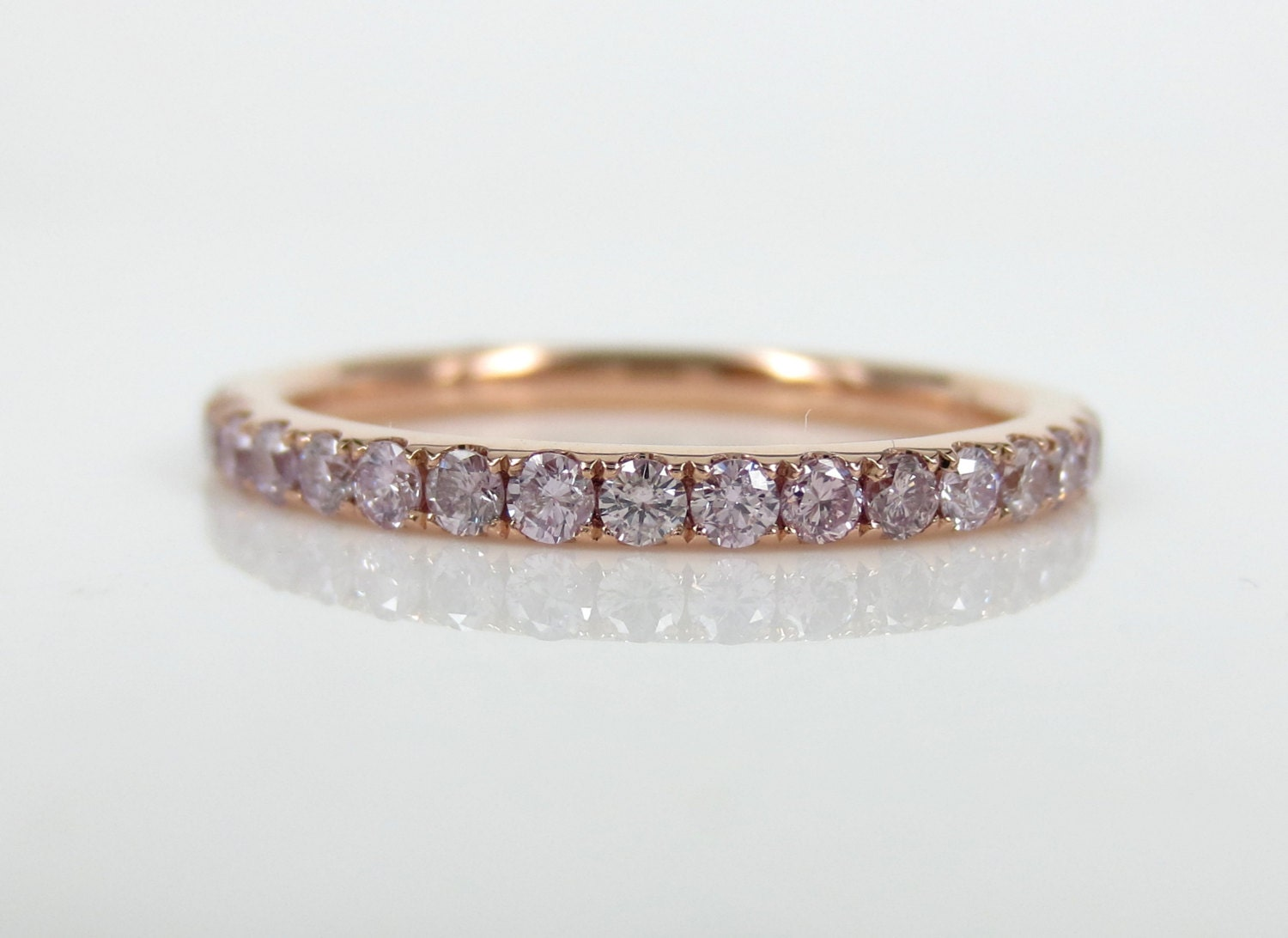 0 71cts Natural Pink Diamond Pave Eternity Band
