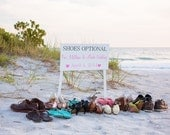 Shoes Optional Beach Wedding Seating Plan Sign Photography Prop Engagement Pictures Fuschia Hot Pink Orange