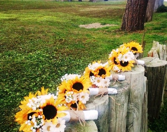 17 Piece Sunflower Wedding Bouquet Set Daisy Bridal Twine