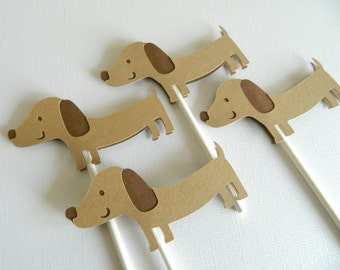 Dachshund Cupcake Toppers Puppy Cupcake Topper Puppy Birthday Party Dachshund First Birthday Dachshund Decorations Hot Dog Party • Set of 12