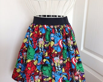 Ladies or girls Marvel Avengers full skater style skirt 2 inch waistband