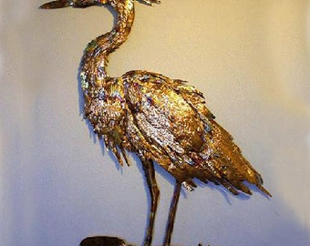 Heron, Copper and Bronze Wall Sculpture