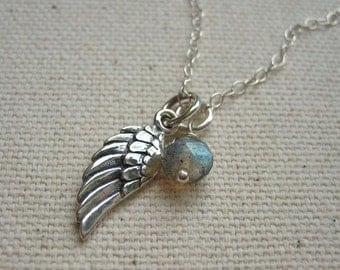 Sterling Silver Tiny Angel Wing Necklace with Labradorite Gemstone Dangle Charm - Personalize or Customize