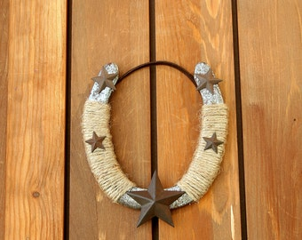 Decorated used horseshoe with stars, Western Decor, Rustic decor, Dorm Room Decor