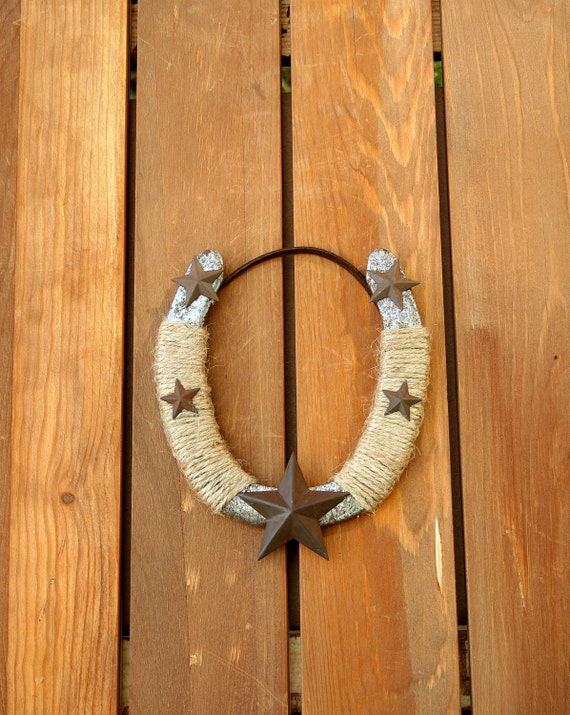 Decorated used horseshoe with stars western decor rustic for How to decorate horseshoes