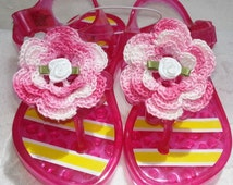 Baby Infant Girls Pink Jelly Sandals Shoes - Handmade Irish Rose Flowers -  Size 5  (approx 12-18 months)