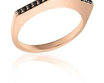 Pyramid Black Diamond Ring